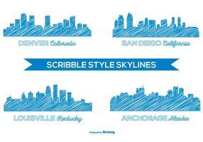 Skylines da cidade do estilo Scribble vetor