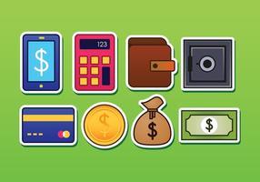 Ícones livres da etiqueta da operação bancária