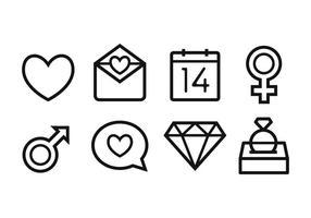 Conjunto grátis de ícones de casamento vetor