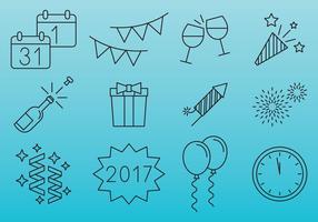 Ícones de Celebração de Ano Novo vetor
