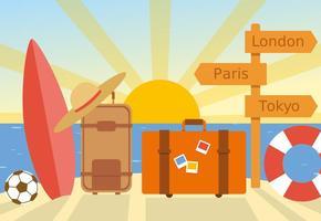 Vetor de viagem de verão plano gratuito