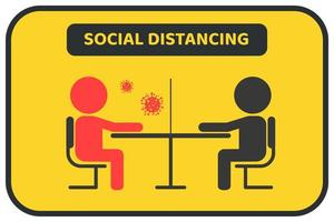 cartaz de distanciamento social preto e amarelo que evita vírus vetor