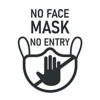aviso de '' sem máscara facial, sem entrada '' vetor