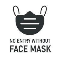 nenhuma entrada sem máscara facial com ícone de máscara vetor