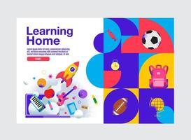 modelo de banner de educação em casa de aprendizagem vibrante vetor
