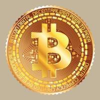 bitcoin dourado metálico vetor