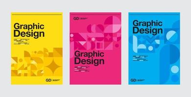 modelos de layout de design gráfico azul, rosa e amarelo