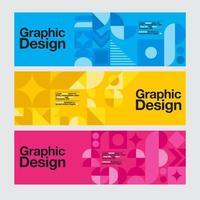 banners de design gráfico geométrico azul, amarelo e rosa