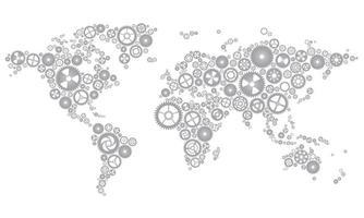 mapa do mundo de engrenagens cinza claro vetor