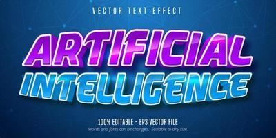 efeito de texto editável de inteligência artificial curva brilhante