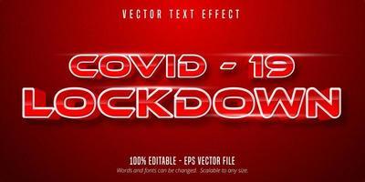 covid19 texto bloqueado, efeito de texto editável vetor