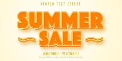 efeito de texto de contorno laranja e tracejado de venda verão