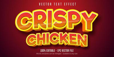 texto de frango crocante, efeito de texto brilhante estilo cômico
