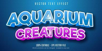 efeito de texto de estilo cômico azul e roxo de criaturas de aquário