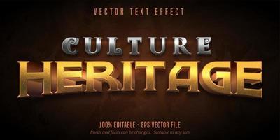 cultura herança metálico texturizado jogo estilo efeito de texto