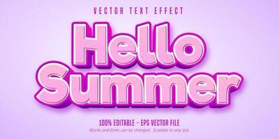 Olá, efeito de texto editável rosa de verão