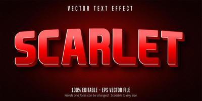 efeito de texto editável vermelho gradiente escarlate vetor