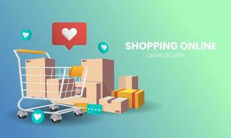 compras online com design de carrinho e embalagem vetor