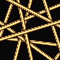 barras de ouro angulares aleatórias no padrão preto vetor