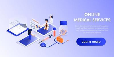 design isométrico de serviços médicos on-line