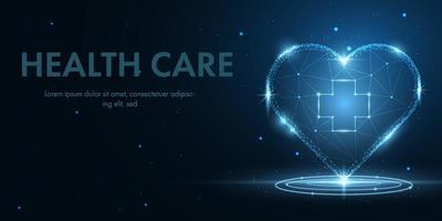 projeto de tecnologia de saúde com coração de baixo poli brilhante vetor