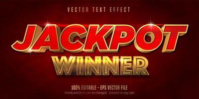 jackpot vencedor vermelho e ouro ext efeito vetor