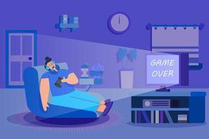 homem dormindo depois de jogar video game vetor