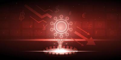 recessão da economia global por estilo de tecnologia por causa do design de vírus vetor