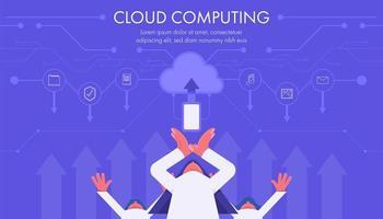 conceito de tecnologia de computação em nuvem com pessoas planas e ícones vetor