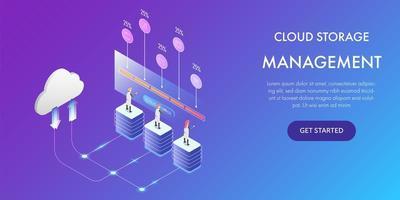 conceito de tecnologia de gerenciamento de armazenamento em nuvem vetor