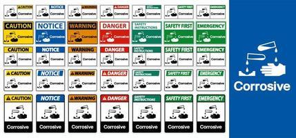 conjunto de sinal de aviso corrosivo vetor