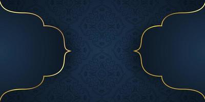 elegante padrão azul com formas de damasco forradas a ouro vetor