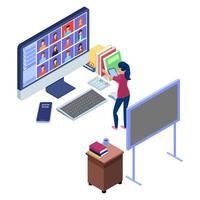 professor nomeia um aluno em vídeo de comunicação on-line vetor