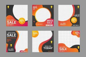 modelos de venda de mídia social com design de gradiente fluido vetor