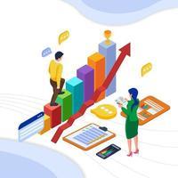 comunicação do trabalho em equipe com gráfico e dados vetor