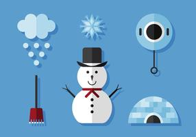 Conjunto de ícones de inverno vetor