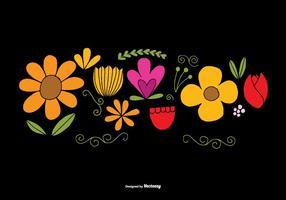 Vetores de elementos de flores desenhados à mão