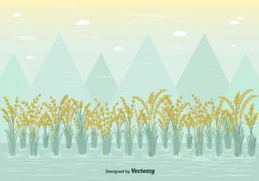 Vector de campo de arroz gratuito