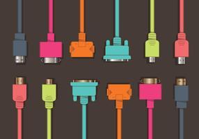 Conjunto colorido de vetores HDMI