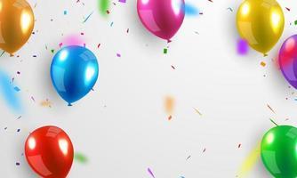 balões coloridos brilhantes e confetes em cinza