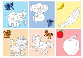 Páginas de colorir frutas e animais vetor