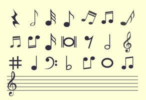 Conjunto de notas de música vetor