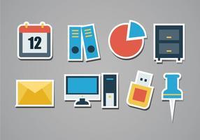 Conjunto de ícones de etiqueta de escritório grátis vetor