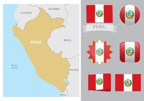 Mapa e bandeiras de Peru vetor