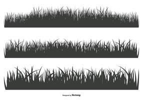Formas de silhueta de grama vetor
