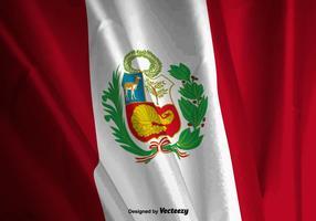 Ilustração vetorial realista da bandeira do Peru vetor