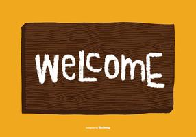 Vector de sinal de boas-vindas Woodgrain