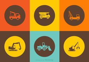 Ícones de caminhão de construção de vetores grátis