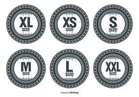 Etiquetas de vetor de tamanho