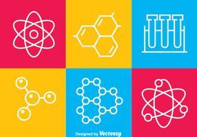 Ícones de linha de ciência vetor